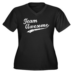 Team Awesome Women's Plus Size V-Neck Dark T-Shirt