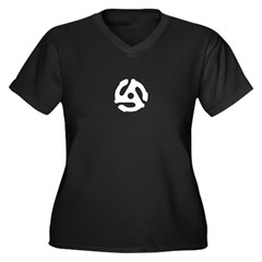 Retro Silver 45 rpm Women's Plus Size V-Neck Dark T-Shirt