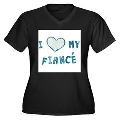 I Heart / Love My Fiancé Women's Plus Size V-Neck Dark T-Shirt