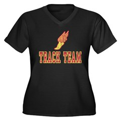 Track Team Women's Plus Size V-Neck Dark T-Shirt