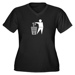 Trash Religion 3 black 2 (png) Women's Plus Size V-Neck Dark T-Shirt