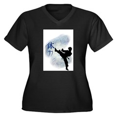 Power Kick 2 Women's Plus Size V-Neck Dark T-Shirt