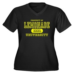 Lemonade University Women's Plus Size V-Neck Dark T-Shirt