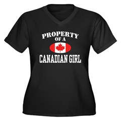Property of a Canadian Girl Women's Plus Size V-Neck Dark T-Shirt