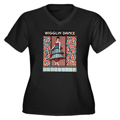 Vintage Wigglin Dance Women's Plus Size V-Neck Dark T-Shirt