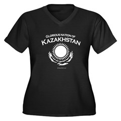 Glorious Kazakhstan Women's Plus Size V-Neck Dark T-Shirt