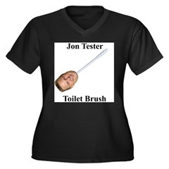 Jon Tester Toilet Brush Women's Plus Size V-Neck Dark T-Shirt