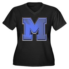 M Go Blue Women's Plus Size V-Neck Dark T-Shirt
