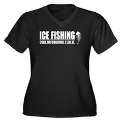 ICE FISHING Women's Plus Size V-Neck Dark T-Shirt