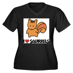 I Love Squirrels Women's Plus Size V-Neck Dark T-Shirt