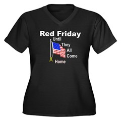 Red Friday (yellow ribbon) Women's Plus Size V-Neck Dark T-Shirt