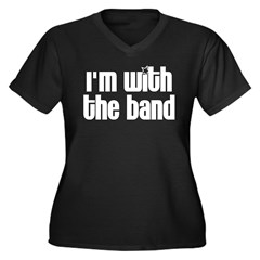 I'm with the Band Women's Plus Size V-Neck Dark T-Shirt