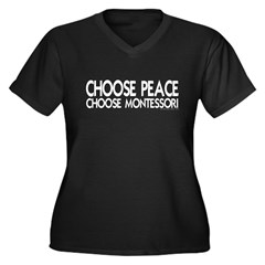 Choose Peace Women's Plus Size V-Neck Dark T-Shirt