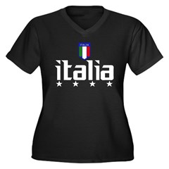 Italia soccer t-shirts 4 Star Italia shir Women's Plus Size V-Neck Dark T-Shirt