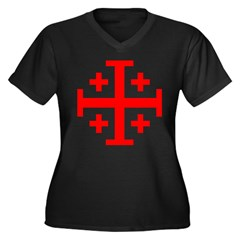 Crusaders Cross (Red) Women's Plus Size V-Neck Dark T-Shirt