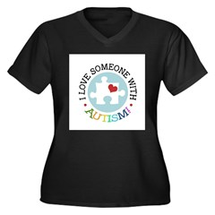Autism Puzzle - Women's Plus Size V-Neck Dark T-Shirt