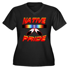 NATIVE PRIDE Women's Plus Size V-Neck Dark T-Shirt