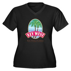 Retro Key West - Women's Plus Size V-Neck Dark T-Shirt