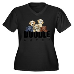 Doodle Lover Women's Plus Size V-Neck Dark T-Shirt