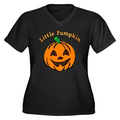 Little Pumpkin Women's Plus Size V-Neck Dark T-Shirt