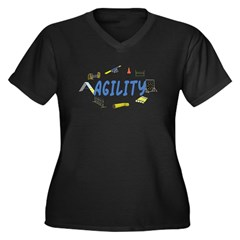 Agility Women's Plus Size V-Neck Dark T-Shirt