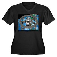 Space Women's V-Neck Black T-Shirt w/LIFEBOAT.COM Women's Plus Size V-Neck Dark T-Shirt