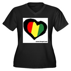 Rasta Hear Women's Plus Size V-Neck Dark T-Shirt
