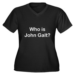 Who is John Galt.psd Women's Plus Size V-Neck Dark T-Shirt
