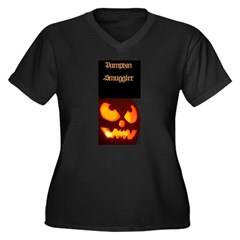 """Pumpkin Smuggler"" Women's Plus Size V-Neck Dark T-Shirt"