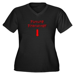 future firefighter Women's Plus Size V-Neck Dark T-Shirt