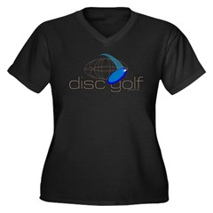 Disc Golf 3 Women's Plus Size V-Neck Dark T-Shirt