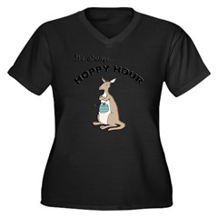 Hoppy Hour Kangaroo Women's Plus Size V-Neck Dark T-Shirt