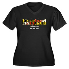 Maryland Women's Plus Size V-Neck Dark T-Shirt