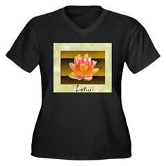 Good Morning Lotus Women's Plus Size V-Neck Dark T-Shirt