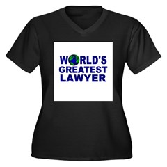 World's Greatest Lawyer Women's Plus Size V-Neck Dark T-Shirt