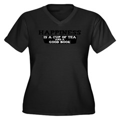 Tea & A Good Book Women's Plus Size V-Neck Dark T-Shirt