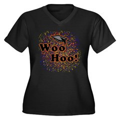 Woo Hoo Confetti Graduation Women's Plus Size V-Neck Dark T-Shirt