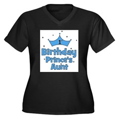1st Birthday Prince's Aunt! Women's Plus Size V-Neck Dark T-Shirt