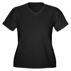 Careful or Novel Women's Plus Size V-Neck Dark T-Shirt