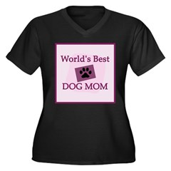 World's Best Dog Mom Women's Plus Size V-Neck Dark T-Shirt