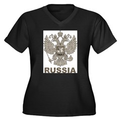 Vintage Russia Women's Plus Size V-Neck Dark T-Shirt