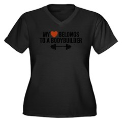 My Heart Belongs to a Bodybuilder Women's Plus Size V-Neck Dark T-Shirt