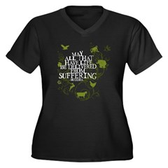Buddha Vine - Animals Women's Plus Size V-Neck Dark T-Shirt