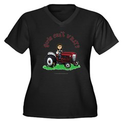 Light Red Farmer Women's Plus Size V-Neck Dark T-Shirt