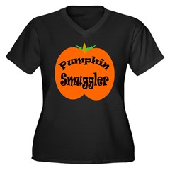 Pumpkin Smuggler Women's Plus Size V-Neck Dark T-Shirt