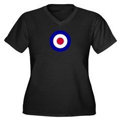 RAF-Royal Air Force Women's Plus Size V-Neck Dark T-Shirt
