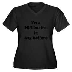 dog dollars millionaire Women's Plus Size V-Neck Dark T-Shirt