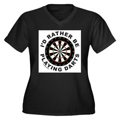 DARTBOARD/DARTS Women's Plus Size V-Neck Dark T-Shirt