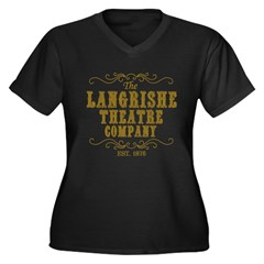 Langrishe Theatre Company Women's Plus Size V-Neck Dark T-Shirt