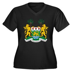 Sierra Leone Coat of Arms Women's Plus Size V-Neck Dark T-Shirt